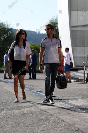 Romain Grosjean (FRA) Haas F1 and wife Marion Jolles (FRA) at Formula One World Championship, Rd13, Belgian Grand Prix, Race, Spa Francorchamps, Belgium, Sunday 28 August 2016.