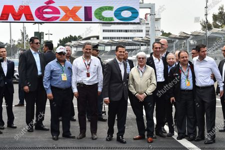 Alejandro Soberon (MEX) President and CEO for CIE Group and President of Formula 1 Gran Premio de Mexico, Enrique Pena Nieto (MEX) Mexican President, Bernie Ecclestone (GBR) CEO Formula One Group (FOM), Carlos Slim jr (MEX), Jean Todt (FRA) FIA President and Federico Gonzalez (MEX) General Director of Formula 1 Gran Premio de Mexico at Formula One World Championship, Rd17, Mexican Grand Prix, Preparations, Circuit Hermanos Rodriguez, Mexico City, Mexico, Thursday 29 October 2015. BEST IMAGE