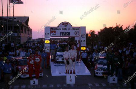 Podium and results: 1st: Pierro Liatti (ITA) / Carlo Cassina (ITA) Subaru Impreza WRC 2nd: Jean-Pierre Nasrallah (RL) / Yusif Bassil (RL) Subaru Impreza WRC 3rd: Abdullah Bakhashab (KAS) / Bobby Willis (GBR) Toyota Corolla WRC FIA Middle East Rally of Lebanon - Beirut, Lebanon - 29 June - 1 July 2001