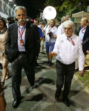 Bernie Ecclestone (GBR) CEO Formula One Group (FOM) and Chase Carey (USA) Vice Chairman of 21st Century Fox Media and Chairman of the Formula One Group at Formula One World Championship, Rd15, Singapore Grand Prix, Practice, Marina Bay Street Circuit, Singapore, Friday 16 September 2016. BEST IMAGE