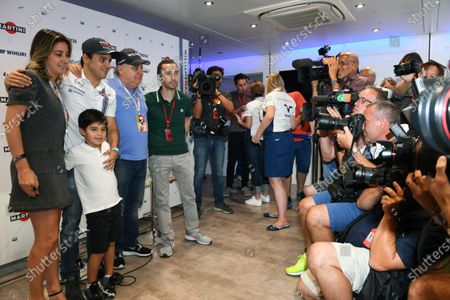 Felipe Massa (BRA) Williams announces his retirement from F1 at the end of the season with his wife Rafaela Bassi (BRA), son Felipinho Massa (BRA), Father Luiz Antonio Massa (BRA) and Nicolas Todt (FRA) Driver Manager at Formula One World Championship, Rd14, Italian Grand Prix, Preparations, Monza, Italy, Thursday 1 September 2016.