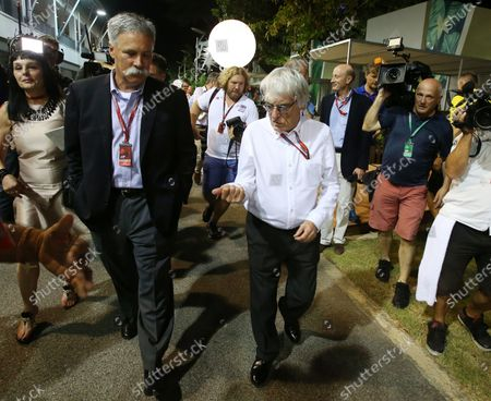Bernie Ecclestone (GBR) CEO Formula One Group (FOM) and Chase Carey (USA) Vice Chairman of 21st Century Fox Media and Chairman of the Formula One Group at Formula One World Championship, Rd15, Singapore Grand Prix, Practice, Marina Bay Street Circuit, Singapore, Friday 16 September 2016.