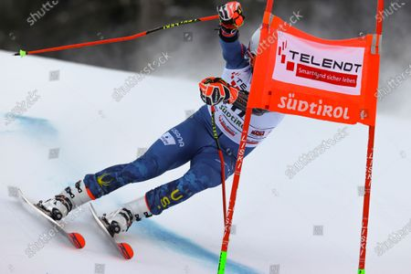 United States' Ted Ligety negotiates a gate as he speeds down the course during an alpine ski, men's World Cup giant slalom in Alta Badia, Italy, Sunday, Dec.20, 2020