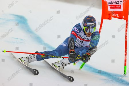 Stock Image of United States' Ted Ligety speeds down the course during an alpine ski, men's World Cup giant slalom in Alta Badia, Italy, Sunday, Dec.20, 2020