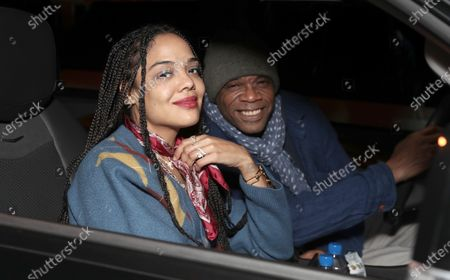 "Tessa Thompson and her father attend Amazon Studios ""One Night In Miami"" Drive In Presented by Cadillac on Saturday, December 19 at the Calamigos Ranch."