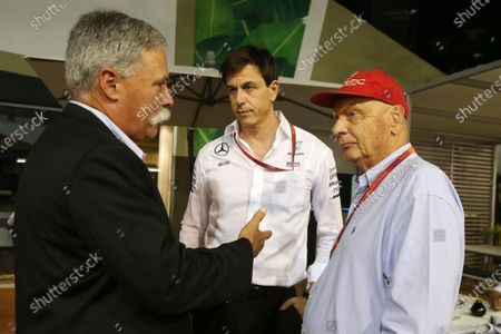 Chase Carey (USA) Vice Chairman of 21st Century Fox Media and Chairman of the Formula One Group with Toto Wolff (AUT) Mercedes AMG F1 Director of Motorsport and Niki Lauda (AUT) Mercedes AMG F1 Non-Executive Chairman at Formula One World Championship, Rd15, Singapore Grand Prix, Practice, Marina Bay Street Circuit, Singapore, Friday 16 September 2016.