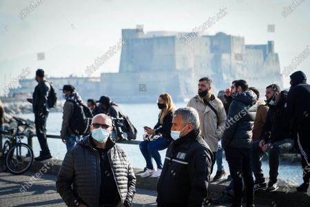 A view of the waterfront and nearby via Chiatamone area blocked by restaurateurs protesting against the decision of the Campania Governor Vincenzo De Luca to keep the Campania Region in the orange zone instead of the yellow one as the Ministry of Health had foreseen from today and until 23 December, in Naples, southern Italy, 20 December 2020. The move is a hard blow for restaurateurs, who have been economically affected by the pandemic and by the measures to contain it. Italy is fighting against a second wave of the coronavirus disease (COVID-19) pandemic.