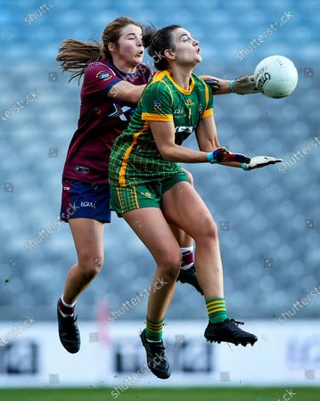 Stock Picture of Meath vs Westmeath. Meath's Sarah Wall with Anna Jones of Westmeath