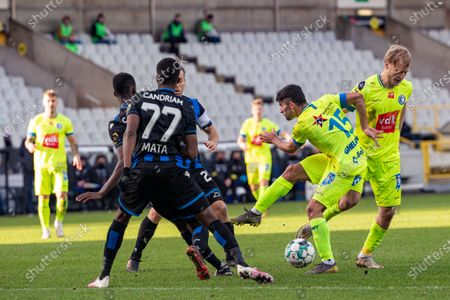 Club's Clinton Mata and Gent's Milad Mohammadi fight for the ball during a soccer match between Club Brugge KV and KAA Gent, Sunday 20 December 2020 in Brugge, on the seventienth day of the 'Jupiler Pro League' first division of the Belgian championship.