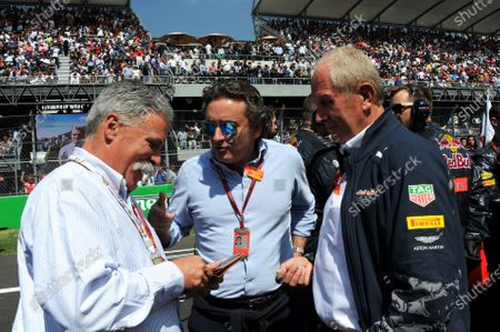 Chase Carey (USA) Vice Chairman of 21st Century Fox Media and Chairman of the Formula One Group with Alejandro Agag (ESP) CEO Formula E and Dr Helmut Marko (AUT) Red Bull Motorsport Consultant on the grid at Formula One World Championship, Rd19, Mexican Grand Prix, Race, Circuit Hermanos Rodriguez, Mexico City, Mexico, Sunday 30 October 2016.