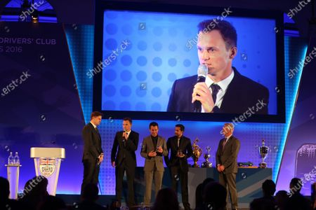 Jake Humphrey (GBR) with Romain Dumas (FRA), Neel Jani (SUI)and Marc Lieb (GER), at BRDC Awards, Great Connaught Rooms, London, 5 December 2016.