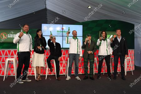 Scott Quinnell (GBR) Former Rugby Player and HeinekenAmbassador, Stephanie Sigman (MEX) Actress and HeinekenAmbassador, Gianluca Di Tondo (ITA) Senior Director Global Heineken Brand, Jackie Stewart (GBR), Carles Puyol (ESP) Former Football Player and HeinekenAmbassador and David Coulthard (GBR) Channel Four TV Commentator and HeinekenAmbassador at Heineken announces global partnership with Formula One Management press call at Formula One World Championship, Rd7, Canadian Grand Prix, Preparations, Montreal, Canada, Thursday 9 June 2016. BEST IMAGE