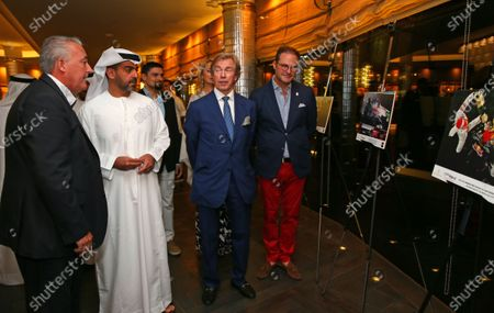 HRH Hamad bin Zayed Al Nahyan and Mark Sutton (GBR) Sutton Images F1 Photographer with Neuschwansteiner Ambassador H.R.H. Prince Leopold of Bavaria and Christian Seitz (GER) CEO and Founder of Neuschwansteiner at a Celebration of Six Years of the Abu Dhabi GP presented by Neuchwansteiner in aid of World Childhood Foundation at the Jumeirah Etihad Towers Hotel at Formula One World Championship, Rd19, Abu Dhabi Grand Prix, Preparations, Yas Marina Circuit, Abu Dhabi, UAE, Wednesday 25 November 2015.