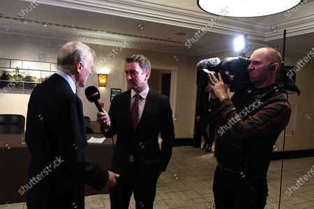 Craig Slater (GBR) SKY TV talks with Max Mosley (GBR) at Zoom F1 Charity Auction and Gala Reception, InterContinental London Park Lane, London, England, 3 February 2017.