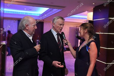 David Richards (GBR) Prodrive CEO and Max Mosley (GBR) talk with Jenny Gow (GBR) at Zoom F1 Charity Auction and Gala Reception, InterContinental London Park Lane, London, England, 3 February 2017.