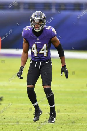 Baltimore Ravens cornerback Marlon Humphrey (44) in action during the second half of an NFL football game against the Jacksonville Jaguars, in Baltimore