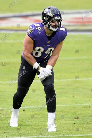 Baltimore Ravens tight end Mark Andrews (89) lines up during the first half of an NFL football game against the Jacksonville Jaguars, in Baltimore