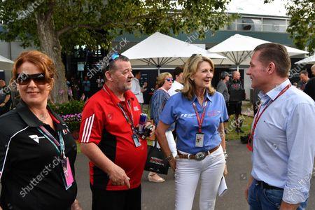 (L to R): Paul Stoddart (AUS), Louise Goodman (GBR) Goodman Media and Jos Verstappen (NDL) at Formula One World Championship, Rd1, Australian Grand Prix, Practice, Albert Park, Melbourne, Australia, Friday 24 March 2017.