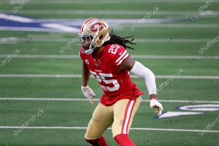 San Francisco 49ers cornerback Richard Sherman defends during the second half of an NFL football game against the Dallas Cowboys in Arlington, Texas
