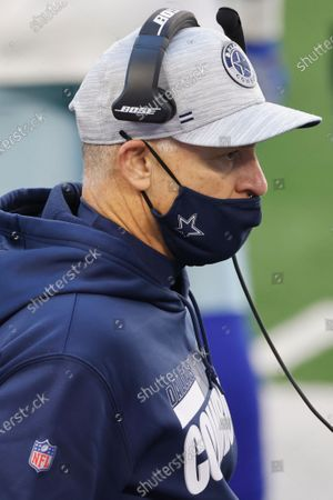 Stock Picture of Dallas Cowboys defensive coordinator Mike Nolan looks on the sideline during the first half of an NFL football game against the San Francisco 49ers in Arlington, Texas