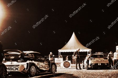Elfyn Evans (GBR) / Daniel Barritt (GBR), M-Sport World Rally Team Ford Fiesta WRC and Dani Sordo (ESP) / Marc Marti (ESP), Hyundai Motorsport i20 Coupe WRC at FIA World Rally Championship, Rd4, Rally Tour De Corse, Day Two, Ajaccio, Corsica, France, 8 April 2017.