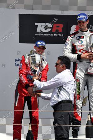 James Nash (GBR) Lukoil Craft-Bamboo Racing SEAT Leon TCR celebrates on the podium with the trophy at TCR International Series, Race Two, Bahrain International Circuit, Sakhir, Bahrain, 16 April 2017.