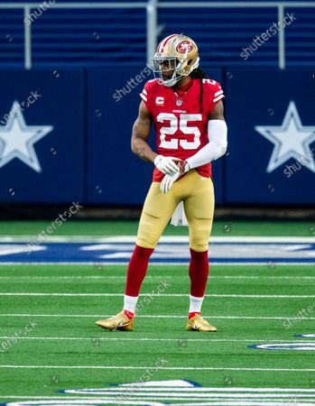 San Francisco 49ers cornerback Richard Sherman (25) looks on during an NFL football game against the Dallas Cowboys, in Arlington, Texas. Dallas won 41-33