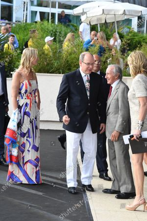 Sonia Irvine (IRL), HSH Prince Albert of Monaco (MON), Jackie Stewart (GBR) and Louise Goodman (GBR) Goodman Media at the Amber Lounge Fashion Show, Le Meridien Beach Plaza Hotel, Monaco, Friday 26 May 2017.