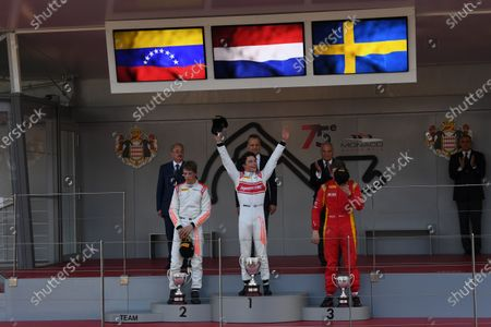 Podium (L to R): Second placed Johnny Cecotto (VEN) Rapax, race winner Nyck De Vries (NED) Rapax and third placed Gustav Malja (GBR) Racing Engineering celebrate on the podium at Formula Two Championship, Rd3, Monte Carlo, Monaco, 25-27 May 2017.