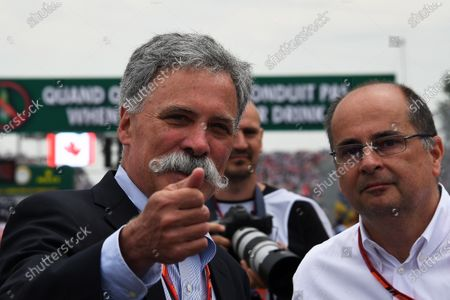 Chase Carey (USA) Chief Executive Officer and Executive Chairman of the Formula One Group and Luca Colajanni (ITA) Formula One Senior Communications Officer at Formula One World Championship, Rd7, Canadian Grand Prix, Race, Montreal, Canada, Sunday 11 June 2017.