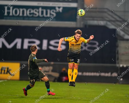 Stock Image of Alexander Ludwig of AC Horsens and Simon Hedlund of Brøndby during AC Horsens and Brøndby on CASA Arena, Horsens, Denmark