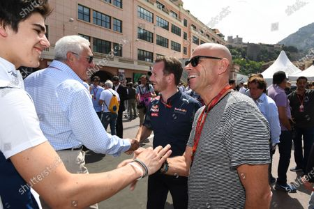 Lance Stroll (CDN) Williams Development Driver and Guy Laliberte (CDN) Cirque de Soleil at Formula One World Championship, Rd6, Monaco Grand Prix, Qualifying, Monte-Carlo, Monaco, Saturday 28 May 2016.