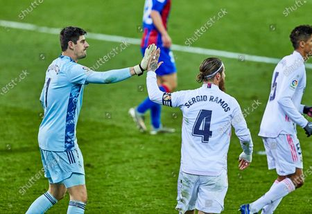 Thibaut Courtois and Sergio Ramos of Real Madrid CF during the Spanish league, La Liga Santander, football match played between SD Eibar SAD and Real Madrid CF at Ipurua stadium on December 20, 2020 in Eibar, Spain.