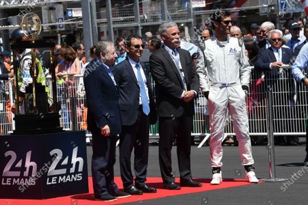 Jean Todt (FRA) FIA President, Pierre Fillon (FRA) ACO President and Chase Carey (USA) Chief Executive Officer and Executive Chairman of the Formula One Group with Mark Webber (AUS) on the grid at Le Mans 24 Hours, Race, Le Mans, France, 17-18 June 2017.