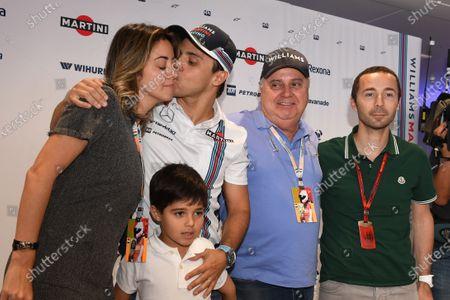 Felipe Massa (BRA) Williams announces his retirement from F1 at the end of the season with his wife Rafaela Bassi (BRA), son Felipinho Massa (BRA), Father Luiz Antonio Massa (BRA) and Nicolas Todt (FRA) Driver Manager at Formula One World Championship, Rd14, Italian Grand Prix, Preparations, Monza, Italy, Thursday 1 September 2016. BEST IMAGE