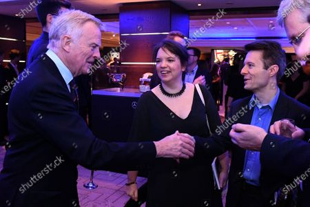Max Mosley (GBR) with Christian Sylt (GBR) Journalist and Carloline Reid (GBR) Formula Money at Zoom F1 Charity Auction and Gala Reception, InterContinental London Park Lane, London, England, 3 February 2017.