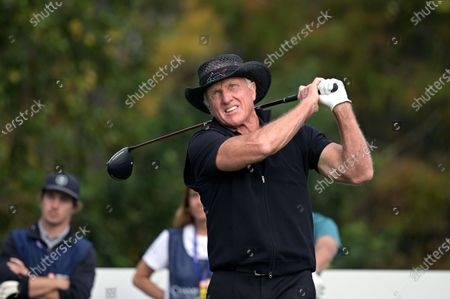 Greg Norman, of Australia, tees off on the first hole during the final round of the PNC Championship golf tournament, in Orlando, Fla