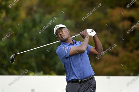 Vijay Singh, of Fiji Islands, tees off on the first hole during the final round of the PNC Championship golf tournament, in Orlando, Fla