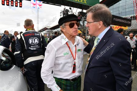 Jackie Stewart (GBR) and Lord Robertson (GBR) on the grid at Formula One World Championship, Rd10, British Grand Prix, Race, Silverstone, England, Sunday 16 July 2017.