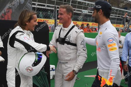 Michel Salgado and David Coulthard (GBR) Channel Four TV Commentator and Daniel Ricciardo (AUS) Red Bull Racing at Formula One World Championship, Rd13, Italian Grand Prix, Preparations, Monza, Italy, Thursday 31 August 2017.