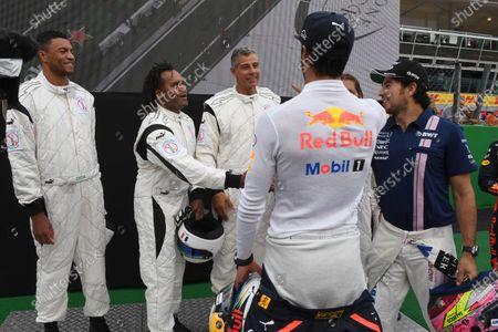 Dida, Louis Saha, Michel Salgado, Christian Karembeu, and Francesco Toldo and Jackie Stewart (GBR) at Formula One World Championship, Rd13, Italian Grand Prix, Preparations, Monza, Italy, Thursday 31 August 2017.