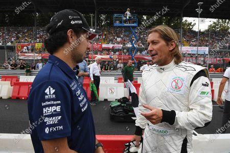 Sergio Perez (MEX) Force India and Michel Salgado at Formula One World Championship, Rd13, Italian Grand Prix, Preparations, Monza, Italy, Thursday 31 August 2017.