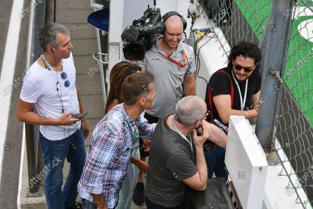 Liam Cunningham (IRL) Actor, Kit Harington (GBR) Actor, Alejandra Gutierrez (VEN) Actress & Model with  Ted Dobrzynski (CDN) viagp.com at Formula One World Championship, Rd13, Italian Grand Prix, Practice, Monza, Italy, Friday 1 September 2017.