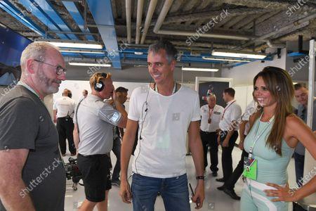 Alejandra Gutierrez (VEN) Actresss and Liam Cunningham (IRL) Actor and Ted Dobrzynski (CDN) viagp.com at Formula One World Championship, Rd13, Italian Grand Prix, Practice, Monza, Italy, Friday 1 September 2017.