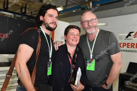 Kit Harrington (GBR) Actor, Kate Beavan (GBR) FOM and Liam Cunningham (IRL) Actor at Formula One World Championship, Rd13, Italian Grand Prix, Practice, Monza, Italy, Friday 1 September 2017.