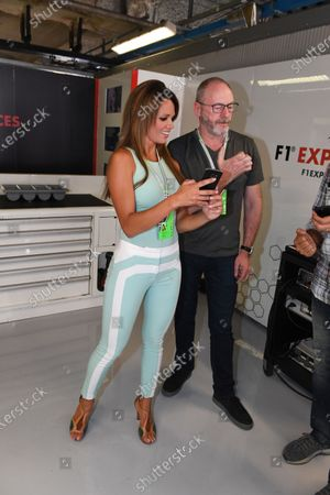 Stock Image of Alejandra Gutierrez (VEN) Actresss and Liam Cunningham (IRL) Actor and Ted Dobrzynski (CDN) viagp.com at Formula One World Championship, Rd13, Italian Grand Prix, Practice, Monza, Italy, Friday 1 September 2017.