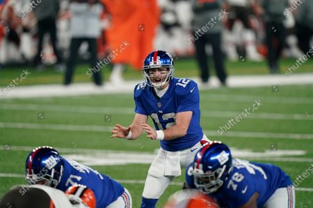 New York Giants quarterback Colt McCoy (12) during the first half of an NFL football game against the Cleveland Browns, in East Rutherford, N.J