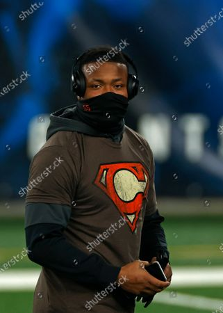 Stock Photo of Cleveland Browns linebacker Tae Davis (55) warms up before an NFL football game against the New York Giants, in East Rutherford, N.J