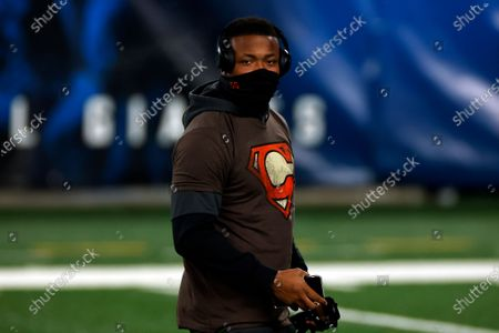 Stock Picture of Cleveland Browns linebacker Tae Davis (55) warms up before an NFL football game against the New York Giants, in East Rutherford, N.J