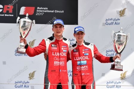 James Nash (GBR) Lukoil Craft-Bamboo Racing SEAT Leon TCR and Hugo Valente (FRA) Lukoil Craft-Bamboo Racing SEAT Leon TCR celebrate on the podium at TCR International Series, Race Two, Bahrain International Circuit, Sakhir, Bahrain, 16 April 2017.